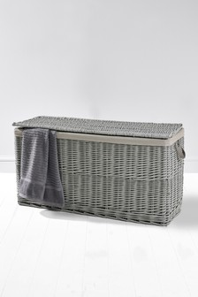 Grey Painted Willow Ottoman