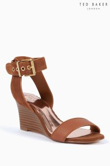 Ted Baker Tan Suede Lernox Ankle Strap Low Wedge