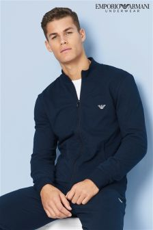 Armani Navy Zip Through Track Top