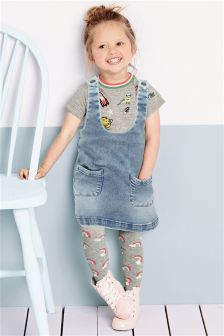 Pinafore, Top And Tights Three Piece Set (3mths-6yrs)
