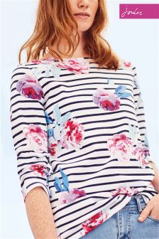 Joules Harbour Print Navy Beau Bloom Stripe Jersey Top
