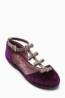 Bow T-Bar Two Part Shoes (Older Girls)