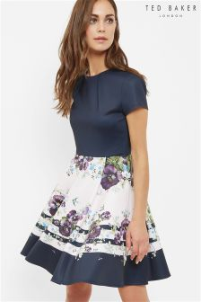Ted Baker Black Stefph Enchantment Skater Dress