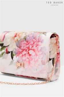 Ted Baker Pink Floral Gros Grain Posie Bow Clutch Bag