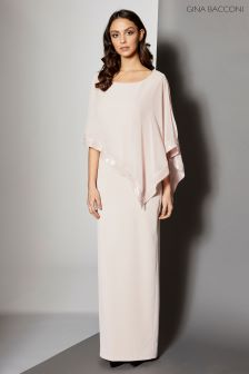 Gina Bacconi Pink Crepe And Chiffon Maxi Dress With Sequin