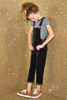 Velvet Dungarees And T-Shirt Set (3-16yrs)