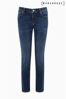 Warehouse Indigo Relaxed Skinny Cut Jean