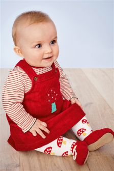Cord Dress, Bodysuit And Tights Set (0mths-2yrs)