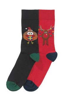 Rudolph And Robin Socks Two Pack