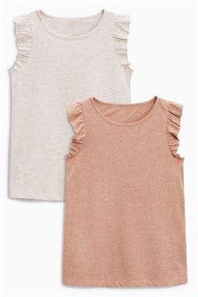Ruffle Sleeve T-Shirts Two Pack (3-16yrs)