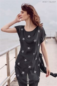Mint Velvet Charcoal Star Embroidered Tunic