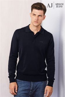 Armani Jeans Navy Knitted Long Sleeve Polo