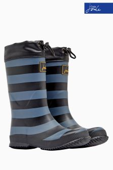 Joules Black Stripe Fleece Lined Welly