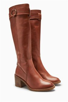 Leather Circle Trim Knee High Boots
