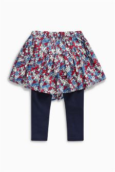 Ditsy Print Skort With Leggings (3-16yrs)