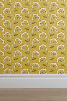 Ochre Retro Cow Parsley Wallpaper