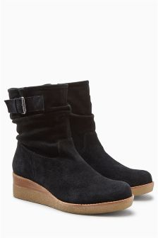 Leather Buckle Wedge Boots