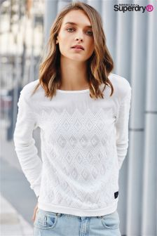 Superdry Off White Embroidered Boho Crew