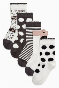 Print Socks Five Pack (Younger Girls)
