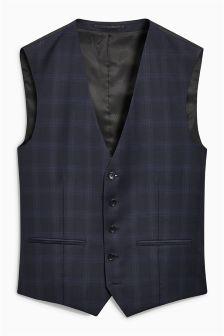 Signature Crepe Check Suit: Waistcoat