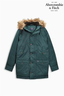 Abercrombie & Fitch Green Hooded Parka