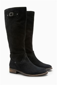Buckle Detail Leather Long Boots