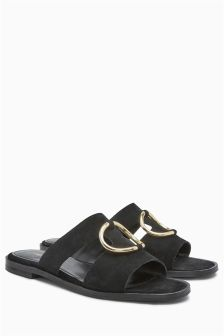 Circle Ring Leather Mule Sandals