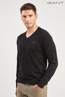 GANT Black V-Neck Knit Jumper
