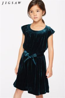 Jigsaw Teal Silk Velvet Blend Party Dress