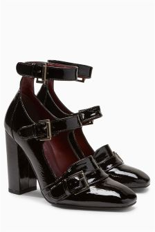 Patent Leather Strapped Court Shoes