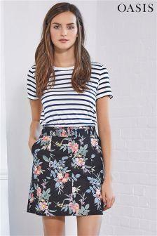 Oasis Multi Violet Print Skirt