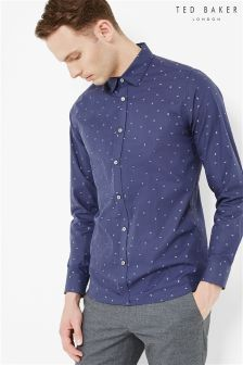 Ted Baker Navy Traingle Print Shirt