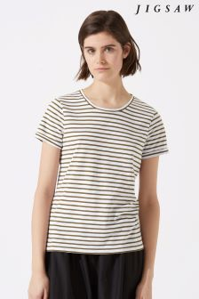 Jigsaw Green Cotton Slub Stripe Short Sleeve T-Shirt