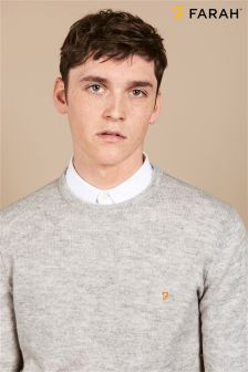 Farah Grey Slim Fit Lambswool Jumper