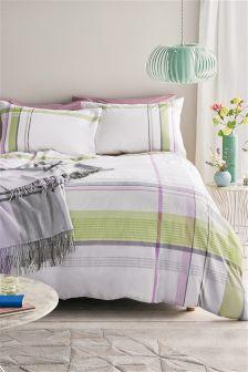 Cotton Seersucker Check Bed Set
