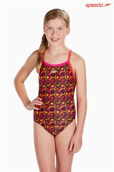 Speedo® Pop Pattern All-Over Thin Strap Crossback Swimsuit