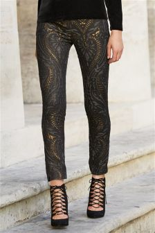 Metallic Jacquard Skinny Trousers