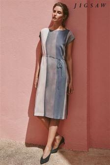Jigsaw Purple Water Stripe Ruched Silk Dress