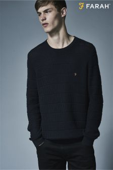 Farah Navy Slim Fit Textured Stripe Jumper