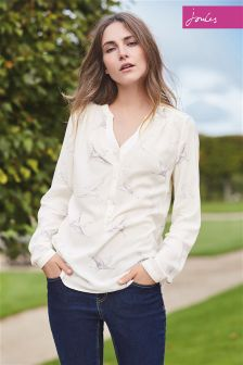 Joules Rosamund Cream Bird Blouse
