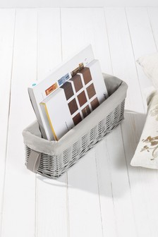 Grey Painted Willow Long Storage Basket