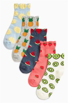 Pattern Fruits Trainer Socks Five Pack