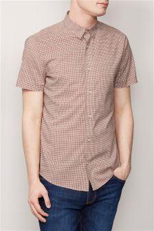Orange Short Sleeve Geometric Print Shirt