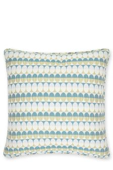 Teal Oval Woven Geometric Cushion