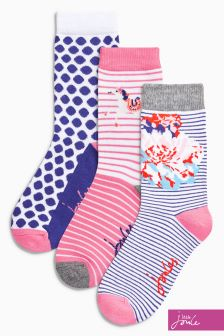 Joules Pink Printed Socks Three Pack