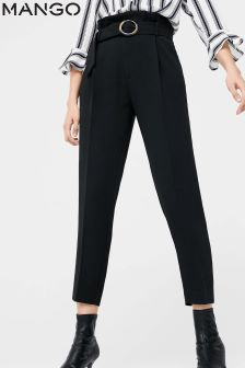 Mango Black Belted Trouser