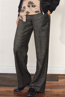 Premium Wool Wide Leg Check Trousers