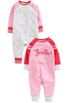 Smile Long Sleeve Rompers Two Pack (0mths-2yrs)