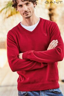 Gant Red V-Neck Knit Jumper