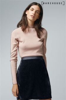 Warehouse Pink Embellished Sleeve Knit